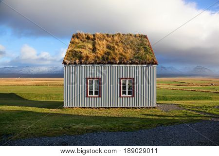 Charming traditional turf house in Glaumbaer Iceland