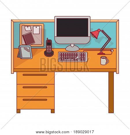 colorful graphic of workplace office interior with dark red line contour vector illustration