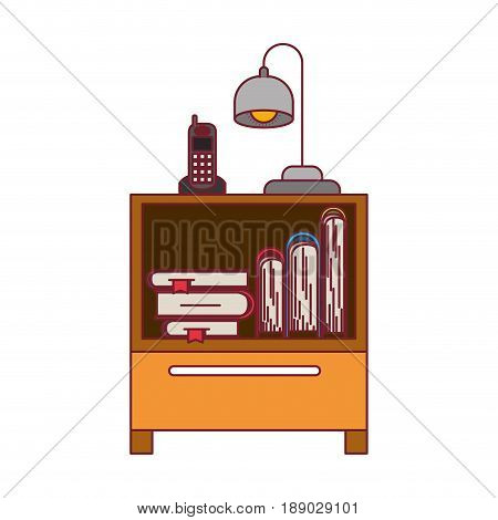 colorful graphic of nightstand with cordless phone and lamp and books stacking with dark red line contour vector illustration