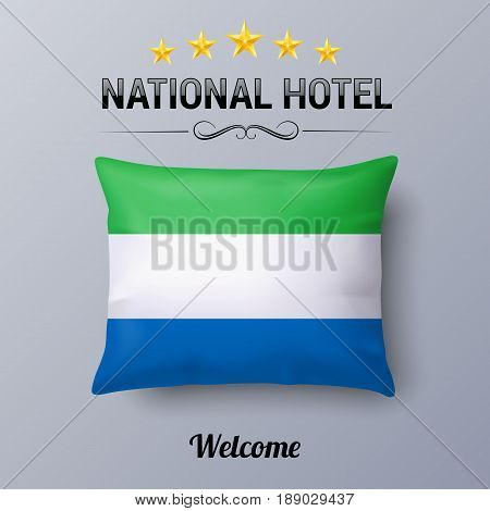 Realistic Pillow and Flag of Sierra Leone as Symbol National Hotel. Flag Pillow Cover with flag colors