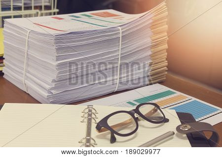 Pile Of Unfinished Documents On Office Desk, Stack Of Business Paper,vintage Effect