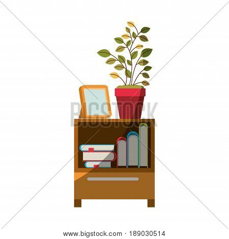 colorful graphic of decorative cabinet table with books and plantpot without contour and half shadow vector illustration