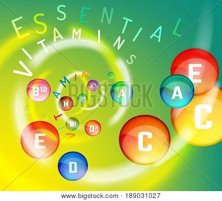 Essential vitamin complex. Creative background with different vitamins in glossy pills flying in a colourful swirl. Vector illustration in rainbow colours. Medical, dietary and pharmaceutical image.