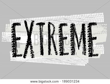 Off-Road extreme hand drawn grunge lettering. Tire tracks words made from unique letters. Beautiful vector illustration. Editable graphic element in white and black colours.