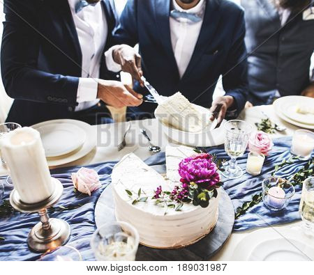 Gay Couple Hands Cutting Wedding Cake
