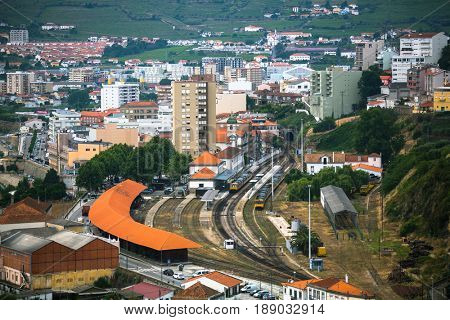 Top view of railway station of Peso da Regua, northern Portugal.