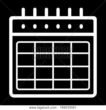 Timetable blank vector icon. Black and white illustration of calendar. Outline linear organizer icon. eps 10
