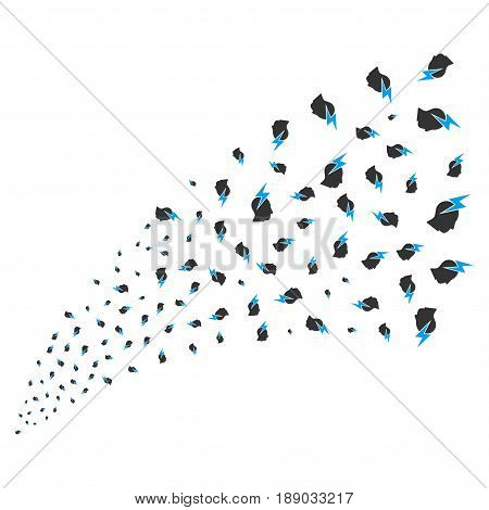 Person Stress Strike source stream. Vector illustration style is flat blue and gray iconic symbols on a white background. Object stream fountain made from randomized icons.