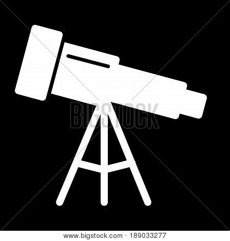 Astronomy telescope vector icon. Black and white illustration of telescope. Solid linear icon. eps 10