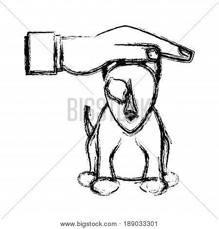 hand human help dog sick pet sketch vector illustration