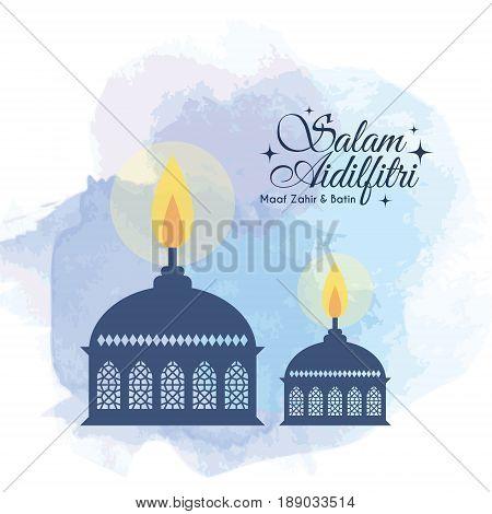 Hari Raya Aidilfitri greeting card template design. Muslim oil lamp (pelita) on blue watercolor background. (caption: Fasting Day of Celebration, I seek forgiveness, physically & spiritually)