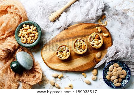 Assorted Nuts With Honey Topping