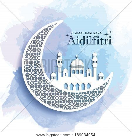 Hari Raya Aidilfitri greeting card template design. Decorative crescent moon and mosque on blue watercolor background. Vector illustration. (translation: Fasting Day of Celebration)