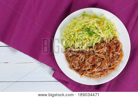 Juicy Pulled Meat With Fresh Salad