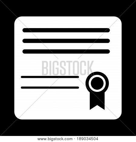 Diploma simple vector icon. Black and white illustration of diploma. Solid linear education icon. eps 10