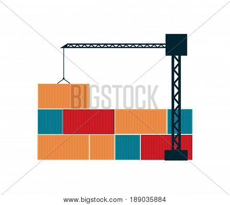 Global shipping icon with tower crane and cargo containers. Worldwide delivery service vector illustration isolated on white background.