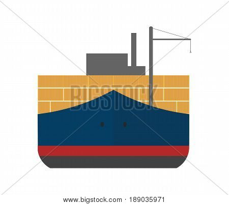 Global shipping icon with cargo ship. Worldwide delivery service vector illustration isolated on white background.