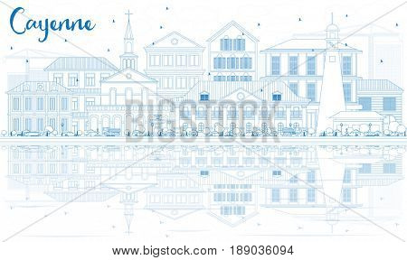 Outline Cayenne Skyline with Blue Buildings and Reflections. Business Travel and Tourism Concept with Modern Architecture. Image for Presentation Banner Placard and Web Site.