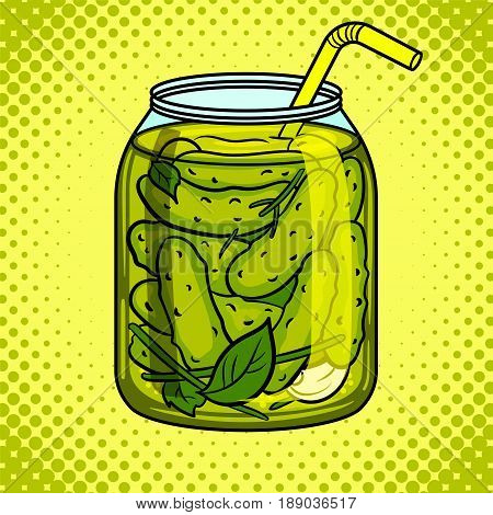 Jar with pickled cucumbers pop art hand drawn vector illustration.