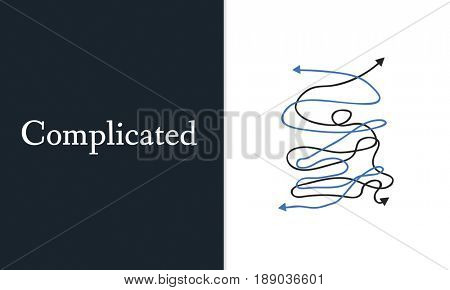 Depressed Complicated Chaos Critical Situation Word Graphic