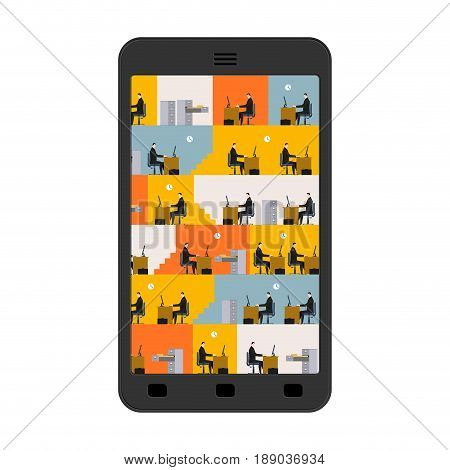 Office In Smartphone. Workplace In Phone. Managers In Work. Business Situation. Head And Subordinate