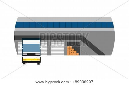 Delivery icon with freight truck near storage. Global or local shipping service vector illustration isolated on white background.