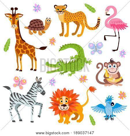 Cute jungle and safari animals vector set for kids book. Cartoon jungle animal, illustration of safari animals