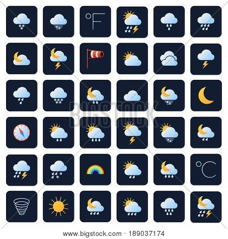 Weather forecast vector icons. Climate and meteo symbols. Collection of snowflake amd cloud meteorology icons, illustration of forecast icons