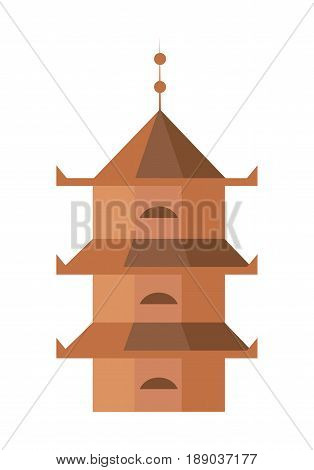 Medieval tower isolated icon. Antique architecture, ancient building, old temple, asian pagoda vector illustration.