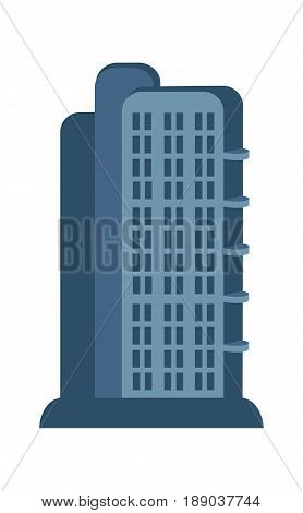 Modern skyscraper isolated icon. Commercial real estate, multi storey building, business tower, architecture vector illustration.