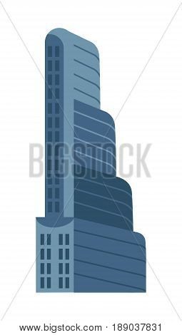 Modern multi storey building isolated icon. Commercial real estate, business tower, skyscraper, architecture vector illustration.