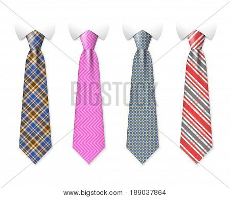 Neck ties vector templates with plaid texture design. Business fashion neck tie, illustration of clothing necktie