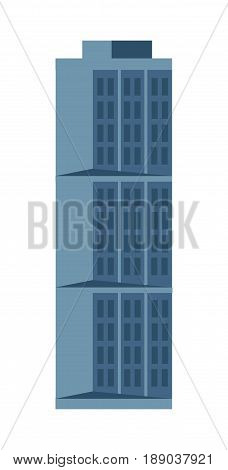 Modern hotel isolated icon. Commercial real estate, multi storey building, business tower, architecture vector illustration.