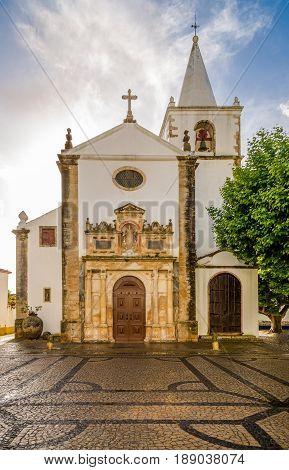 View at the Church of Santa Maria in Obidos - Portugal