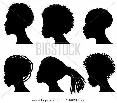 Afro american young woman face vector black silhouettes. Shape black silhouette woman hair illustration