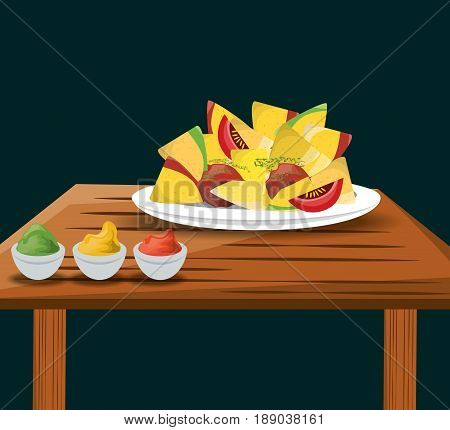 nachos mexican food with sauces menu restaurant vector illustration