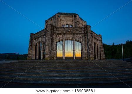Vista House situated in the Columbia River Gorge along Highway I-84