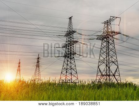 Green energy concept Electricity station Electricity plant landscape over blue sky