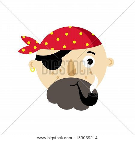 Pirate head icon. Children drawing of pirate accessories vector illustration isolated on white background.
