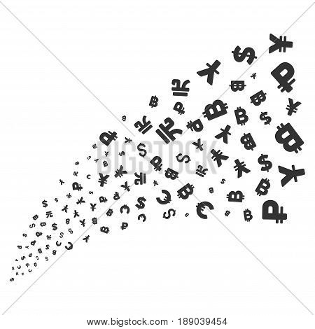 Currency Symbols source stream. Vector illustration style is flat gray iconic symbols on a white background. Object explosion fountain created from random pictograms.
