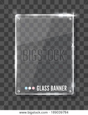 Vector modern transparent glass plates set on transparent background. Reflaction