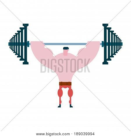 Press Up Barbell. Athlete And Barbell. Bodybuilding And Powerlifting. Sportsman Exercise