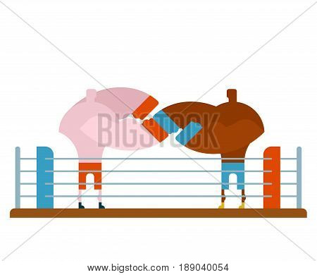 Boxing Fight In Ring. Two Fighters Box. Athletes In Gloves. Strong Man Sparring Battle