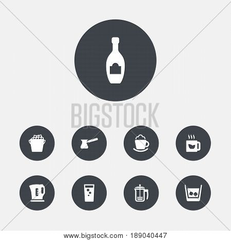 Set Of 9 Beverages Icons Set.Collection Of Alcohol, Turkish Coffee, Fridge And Other Elements.