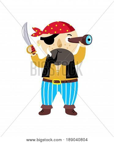 Pirate character with sword icon. Children drawing of pirate concept vector illustration isolated on white background.