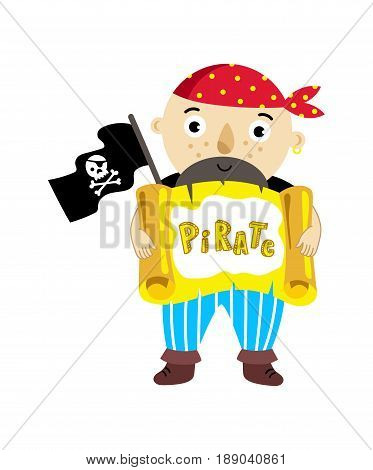 Pirate character with scroll icon. Children drawing of pirate concept vector illustration isolated on white background.