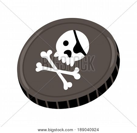 Pirate black mark icon. Children drawing of pirate concept vector illustration isolated on white background.
