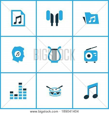 Audio Colorful Icons Set. Collection Of Playlist, Harp, Note And Other Elements. Also Includes Symbols Such As Radio, Earphone, Harp.