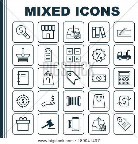 E-Commerce Icons Set. Collection Of Business Inspection, Identification Code, Recurring Payements And Other Elements. Also Includes Symbols Such As Label, Service, Research.