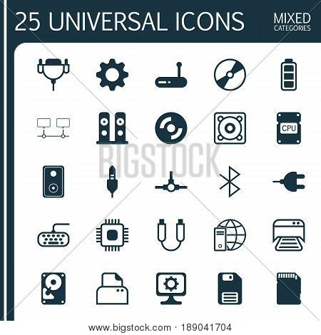Hardware Icons Set. Collection Of Accumulator Sign, Audio Device, Printed Document And Other Elements. Also Includes Symbols Such As Printer, Disc, Setting.